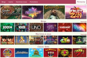 Differents jeux sur onlinebingo
